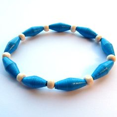 A Handmade Paper Bead Bracelet Blue and White