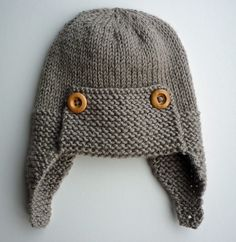 Ravelry: Regan - Aviator hat pattern by Julie Taylor Baby Hats Knitting, Knitting For Kids, Baby Knitting Patterns, Baby Patterns, Knitting Projects, Knitted Hats, Crochet Patterns, Simple Knitting, Stitch Patterns