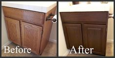 Staining oak cabinets a darker color. It minimizes the grain. Tutorial. New house is mad with light oak- gotta deal with that..