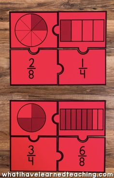 Engage students with a variety of Fraction Number Puzzles that provide practice with equivalent fractions, comparing fractions, and placing fractions on a number line. These are great for math stations or math centers. Teaching Fractions, Math Fractions, Comparing Fractions, Teaching Math, Dividing Fractions, Math Math, Maths Puzzles, Number Puzzles, Fraction Activities