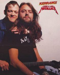 Jason Newsted and Lars Ulrich. Cliff Burton, Robert Trujillo, James Hetfield, Great Bands, Cool Bands, Jason Newsted Metallica, Metallica Black, Dimebag Darrell, Kirk Hammett
