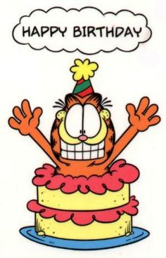 garfield with birthday cake - Google Search
