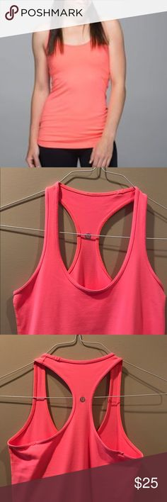 """Lululemon CRB Grapefruit 6 Lululemon CRB Grapefruit 6. VGUC. Slight sueding of the Luon. No stains, pulls or smells. It's in very good condition. Please check the measurement as there is no size dot on a CRB. Pit to pit is 13"""". lululemon athletica Tops Tank Tops"""