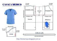 Uniforme medico #patrones #moldes #costura #sewingpatterns Spa Uniform, Scrubs Uniform, Pants Pattern, Top Pattern, Custom Clothes, Diy Clothes, Kids Scrubs, Scrubs Pattern, Scrubs Outfit