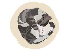 Sleepy cat designed by Patricia Martinez . the global community for designers and creative professionals. Cat Design, Graphic Design, Sleepy Cat, Cats, Illustration, Creative, Artwork, Gatos, Work Of Art