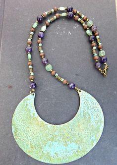 Patina green metal pendant, Amethyst gemstone, wood, Czech glass and brass metal necklace. Bohemian jewelry. -  - McKee Jewelry Designs - 1