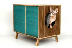 Small Walnut Mid Century Modern Cat Furniture.   I think @Derek Bell would be into this too!