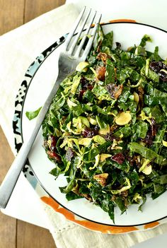 Kale Chopped Salad with Maple-Almond Vinaigrette is a hearty salad full of flavor-packed ingredients like fried shallots, dried cranberries, crispy bacon, and shaved brussels sprouts. Call me crazy but I'm one of those people who likes their spaghetti sauce ladled on top of their pasta. I know I'm probably in...