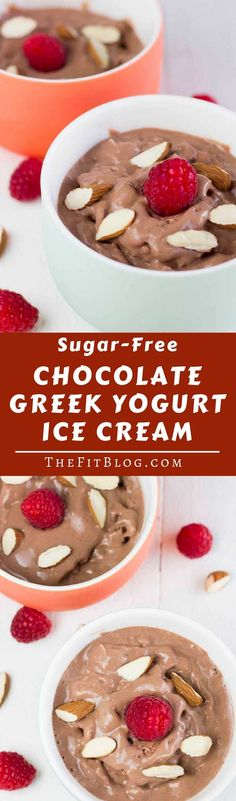 This delicious sugar-free Chocolate Greek Yogurt Ice Cream is high in protein and low in calories. The perfect snack for a hot day or after a hard workout (high protein, low carb, gluten free, diabetes friendly, Paleo).