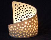 Items similar to Elegant Translucent Pierced Porcelain Bubbles Tea Light Candle Holder on Etsy