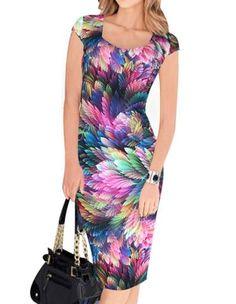 Stylish Colorful Feather Prints Square Neck Midi Bodycon Dress