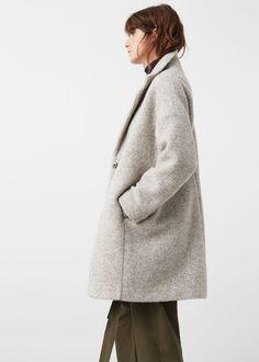 Lapels wool coat - Coats for Women | MANGO USA