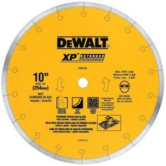 DEWALT Wet Continuous Diamond Tile Saw Blade at Lowe's. Packed with a premium cutting matrix, which provides 4 times the life of standard blades, DEWALT tile blades offer long life and optimum cutting Circular Saw Reviews, Best Circular Saw, Circular Saw Blades, Best Chips, Mouille, Stainless Steel Railing, Tile Saw, Diamond, Construction