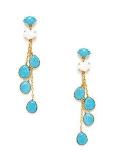 Turquoise & Faceted White Agate Linear Drop Earrings by Kanupriya