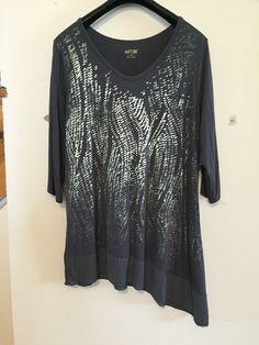 Freeshipping NWT Apt.9 1x Shirt  Gray Gold Printed Tunic 3/4 Slv Asymmetric Hem…