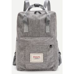 Patch Detail Double Handle Canvas Backpack ❤ liked on Polyvore featuring bags, backpacks, knapsack bag, canvas knapsack, backpack bags, patch backpack and canvas bags