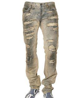 "JOHN GALLIANO* ""Destroyed"" Denim Jeans, Blue"