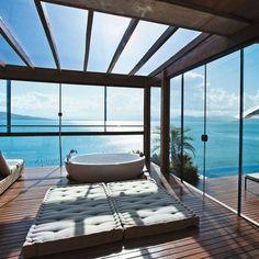 Luxury Bathroom with million dollar view!  http://www.maisonvalentina.net/ #luxurybathroom #luxuryview #bathroomviews #views #bigwindows #lifestyle #luxurylifestyle