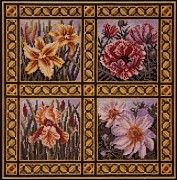 A quartet of beautiful flowers: golden day lilies, dark pink oriental poppies, salmon irises, and white anemones, is united by a golden leaf motif border. The design is charted for whole stitches only.