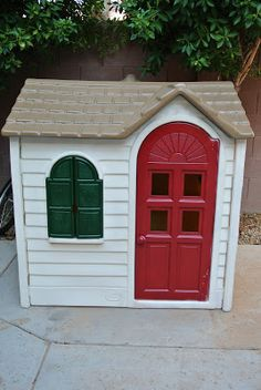 Repaint kids toys to match in playroom  South Meets Southwest: DIY Playhouse Makeover