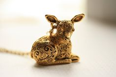 Deer Fawn Locket Necklace, Secret Compartment Pendant, Long Gold Chain, Pill Carrier, Animal Jewelry, Sheep. $94.00, via Etsy.  FreshyFig
