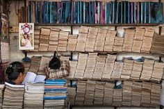 A book shop in Rangoon where mostly old books and magazines are sold.