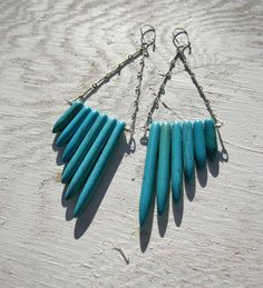 """Turquoise Earrings. Stone Spears - $28  """"Turquoise howlite spears and new stock vintage silver chain. These earrings are light and easy, and add the perfect amount of bohemian flair to any look.  One of a kind.  On silver kidney wires."""""""