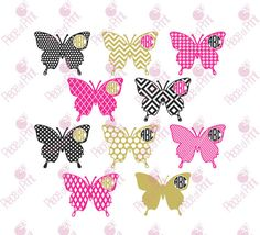 Butterfly Monogram Frame SVG Cut Files Butterfly by pieceofprint