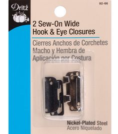 Dritz Sew On Wide Skirt Hook & Eye Closures Black & Nickel Hook and eye closures hold finished edges together. This package contains two 1 inch wide hook and eye sets. Needlework Shops, Makeup Deals, Sewing Kit, Sewing Ideas, Shirts For Teens, Order Up, Haberdashery, Cool Things To Buy, Eyes