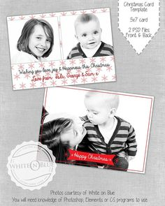 CHRISTMAS CARD PHOTOSHOP TEMPLATE - SIMPLE 01    **THIS IS AN INSTANT DOWNLOAD ITEM** The 2 PSD Files will be delivered in 1 Zip file once payment is