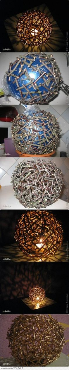 Fashion a DIY button bowl. Check out the full DIY tutorial HERE Form a cloud from balloons. Check out the full DIY tutorial HERE Construct DIY Tree Branches Light Check out the full DIY tutorial HERE Dip balloons in chocolate. Nature Crafts, Fun Crafts, Diy And Crafts, Arts And Crafts, Twig Crafts, Driftwood Crafts, Garden Crafts, Garden Ideas, Light Crafts