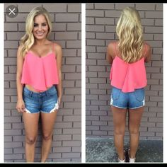 Pink Crop Top Pink Crop Top with spaghetti straps, only worn once! Gently used and great for club scenes! Dainty Hooligan Tops Crop Tops