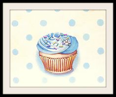 classic buttercream frosted cupcake blue mini print by Everyday is a Holiday
