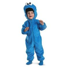 Cookie Monster Deluxe Two-Sided Plush Jumpsuit Costume.  $18.00 - $100.00            Me Want Cookie. Me Eat Cookie. He will eat anything and everything he can get his hands on. This Cookie Monster costume is very cute for a young child and is very comfortable to wear with plush on both the outside and inside of the costume. It has the classic blue Cookie M...