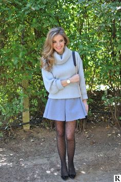 Pantyhose Outfits How To Wear and Pantyhose Outfits Pantyhose Outfits, Black Pantyhose, Black Tights, Pantyhose Skirt, Fashion Tights, Tights Outfit, Fashion Outfits, Grey Mini Skirt, Mini Skirts