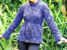 tejidos artesanales en crochet: sueter pull acampanado tejido en crochet