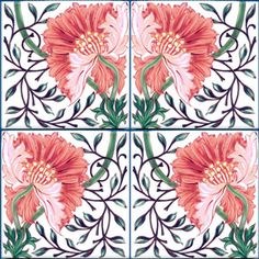 William Morris Poppy Tile in salmon pink