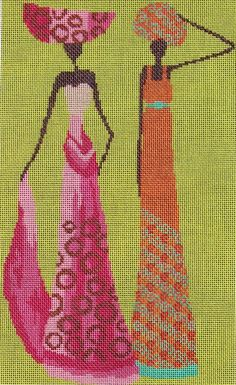 0 point de croix femmes africaines en robes longues - cross stitch african women in long dresses Folk Embroidery, Cross Stitch Embroidery, Embroidery Patterns, Cross Stitch Charts, Cross Stitch Patterns, Bordados E Cia, Graph Design, Art Africain, Tapestry Crochet