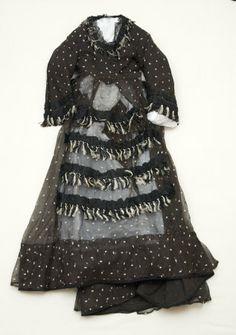 Half Mourning Dress: ca. 1870-1875, cotton, jet, silk, steel.