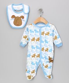 Take a look at this Blue & Brown 'Chow Time' Puppy Footie & Bib on zulily today!