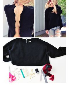 DIY Sweater Refashion • Clothes Casual Outift for • teens • girls • women •. summer • fall • spring • winter • outfit ideas • dates • school...