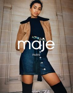 Maje's fall 2016 campaign features model Imaan Hammam wearing cropped jacket…