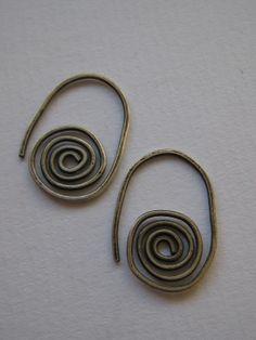 Oxidised Sterling Silver Simple Swirl Earrings.  by ZaZing on Etsy, $35.00