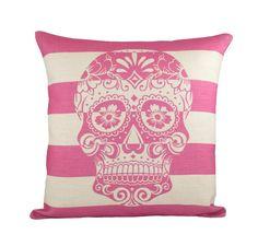 "Pink Skull Pillow Cover, Day of the Dead, Sugar Skull Throw Pillow, Cushion, Skull Decor 16"""