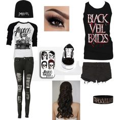 """""""Band merch combo"""" by sadiemay42 on Polyvore . I just love this, two of my favorite bands come together in an awesome combo"""