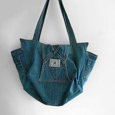 Recycled jeans handbag -  upcycled denim shoulder bag - large  eco friendly toe ba - recycled denim bag. $70.00, via Etsy.