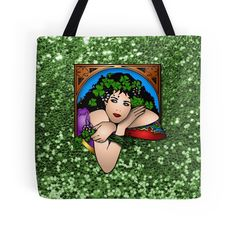 #Colorful #StPatricksDay #Lady #GreenFauxGlitter #ToteBag by #MoonDreamsMusic