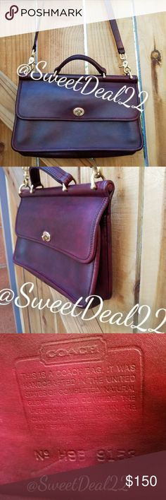 """Custom Vintage Coach City Willis Handbag/Crossbody Love the Willis but want something smaller? This is the bag for you! Same classic style and ammenties in a smaller sleeker fit. Top Handle, back slip pocket, inside has a slip pocket, zippered pocket and a roomy interior. Detachable adjustable 42""""Strap to be worn over shoulder/Crossbody.  Vintage Coach, Dooney, Frye and other great finds in my closet💃 Coach Bags"""