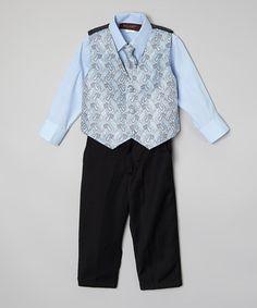 This Light Blue Four-Piece Vest Set - Infant is perfect! #zulilyfinds