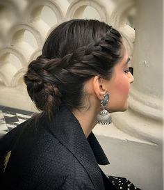 Braided Bun Hairstyles, Indian Hairstyles, Bride Hairstyles, Easy Hairstyles, Two Buns Hairstyle, Hairdos, Front Hair Styles, Medium Hair Styles, Bun Hair Styles